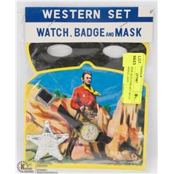SEALED 1950S WESTERN SET WITH WATCH, BADGE, AND