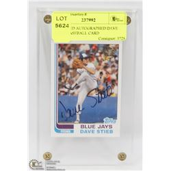CERTIFIED AUTOGRAPHED DAVE STEIB BASEBALL CARD