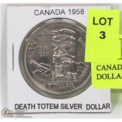 CANADA 1958 DEATH TOTEM SILVER DOLLAR.