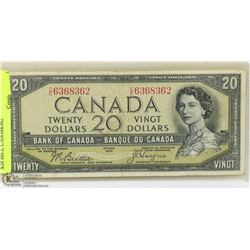 1954 CANADIAN BANK OF CANADA $20 BILL C/E6368362