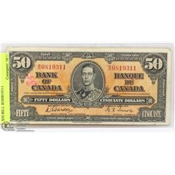 1937 CANADIAN BANK OF CANADA $50 BILL B/H0819311