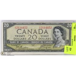 1954 CANADIAN DEVILSFACE 20 DOLLAR BILL