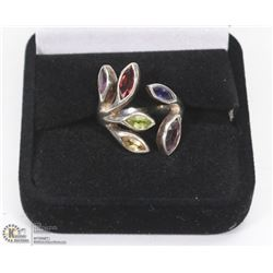 LADIES ORNATE GEMSTONE 925 SILVER RING, LEAF
