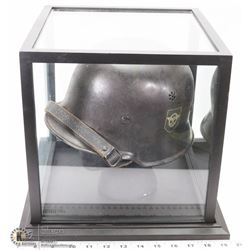 WWII GERMAN GESTAPO HELMET WITH SHOWCASE