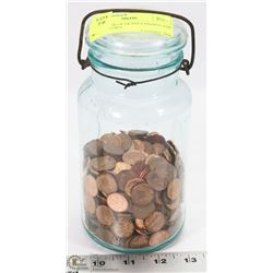 VINTAGE BLUE GLASS CANNING JAR WITH PENNIES