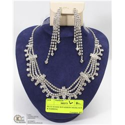BLUE STAND W/FASHION NECKLACE & EARRING