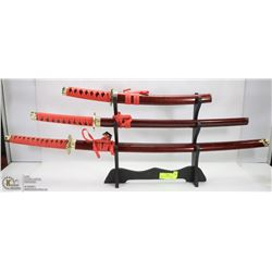 SET OF 3 SAMURAI SWORDS ON STAND