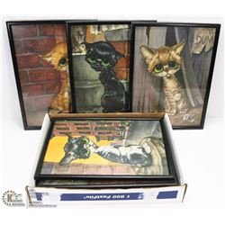 BOX OF FRAMED BUG EYED CAT AND DOG POSTERS