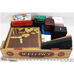 JEWELRY BOXES INCL. TIMEX, ELGIN AND MORE