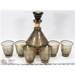 VINTAGE 8 PIECE BOHEMIA GLASS MOOSE DECANTER SET
