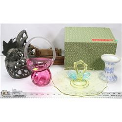 ESTATE LOT WITH ART GLASS SERVING PLATTER, BASKET,