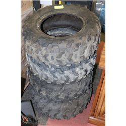 SET OF 4  ASSORTED  ATV TIRES.