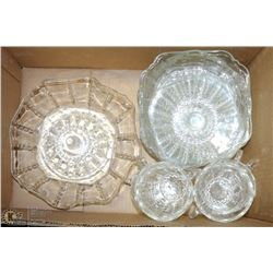 COLUMBIA VINTAGE GLASSWARE INCL LARGE BOWL, CUPS &