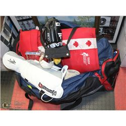BAG OF ASSORTED HOCKEY GEAR INCL PADS, GLOVES