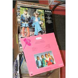 3 BOXES OF VINYL RECORDS INCL ABBA, BARBARA
