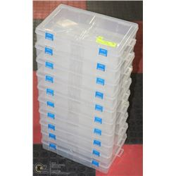 LOT OF 10 CLEAR PLASTIC STACKABLE ORGANIZERS