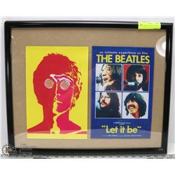 2 PHOTOCOPIES OF THE BEATLES PRINTS IN FRAME
