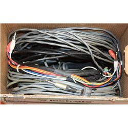 BOX OF ASSORTED DJ /BAND ELECTRICAL CORDS