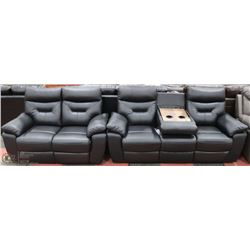 NEW ATHABASCA GENUINE BLACK LEATHER RECLINING DROP