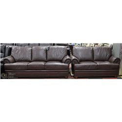 """NEW BROWN LEATHERETTE WITH NAILHEAD ACCENT 87"""""""