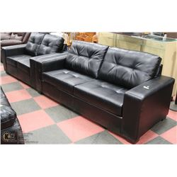 """NEW BLACK LEATHERETTE 85"""" SOFA WITH 61"""" LOVE SEAT"""