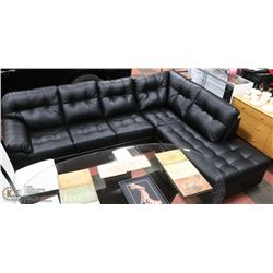 NEW BLACK LEATHERETTE CHAISE LOUNGE SECTIONAL