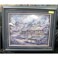 PAPER TOLE WOOD FRAMED PICTURE OF