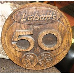 LARGE WOOD LABATTS SIGN