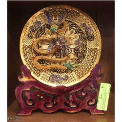 DECORATIVE METAL GOLDEN DRAGON ORNAMENT ON