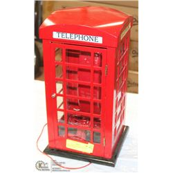 VINTAGE TELEPHONE BOOTH WITH PHONE INSIDE