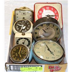 FLAT OF 7 ALARM CLOCKS 1930'S - 1950'S