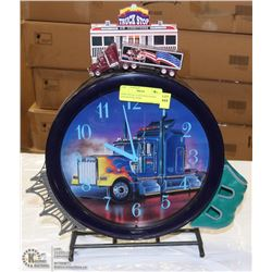 SEMI TRUCK CLOCK WITH NOISE AND MOVING SEMI