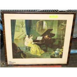 ANTIQUE PRINT OF MOTHER, CHILD AT PIANO