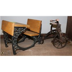 """MINIATURE TRICYCLE & SCHOOL DESK. 10""""&9"""" TALL"""