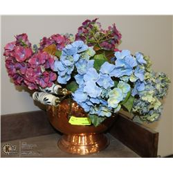 BRASS AND COPPER PLANTER WITH ARTIFICIAL FLOWERS