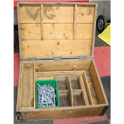 WOOD TOOL BOX WITH CONCRETE BOLTS