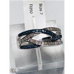 2) ST. SILVER RHODIUM PLATED B&W DIAMOND RING