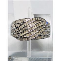 4) STERLING SILVER DIAMOND BAND RING