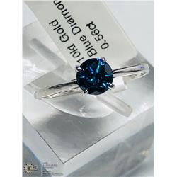 6) 10KT GOLD BLUE DIAMOND RING