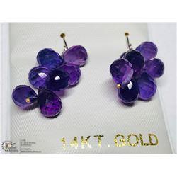 9) 14KT GOLD AMETHYST EARRINGS
