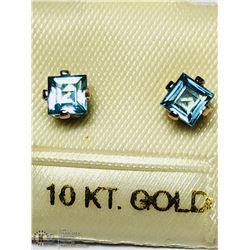 15) 10KT GOLD BLUE TOPAZ EARRINGS