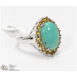 16) STERLING SILVER TURQUOISE AND CITRINE RING