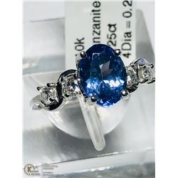 18) 10KT GOLD TANZANITE & DIAMOND RING