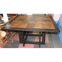 WOOD AND TILE TOP TABLE. FURNITURE