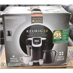 KEURIG 2.0 K300 COFFEE BREWER, WITH 4 CUP CARAFE,