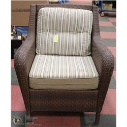 LARGE WICKER PATIO CHAIR.