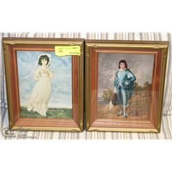 ESTATE PAIR OF FRAMED BLUE BOY AND PINK GIRL PICS