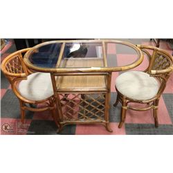 """GLASS TOPPED WICKER TABLE 30""""  HIGH WITH 2 CHAIRS"""