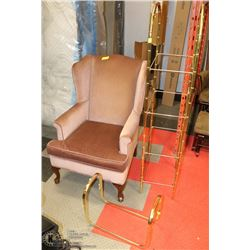DUSTY ROSE WING BACK PARLOUR CHAIR SOLD WITH