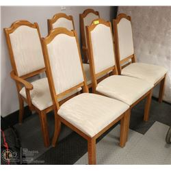 LOT OF 6 OAK FRAMED DINING CHAIRS - 2 ARE CAPTAINS